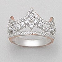 Exceptional Quality .925 Sterling Silver 14k Pink Gold Plated Crown Princess Queen Zirconia & Prong  Rhodium  Pendant Finger Ring