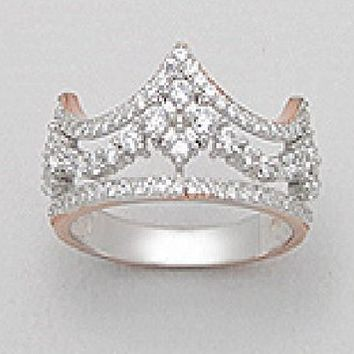 Exceptional Quality .925 Sterling Silver 14k Pink Gold Plated Crown Princess Queen CZ & Prong Rhodium Pendant Finger Ring