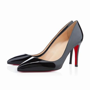 NEW SEXY WOMENS MATTE 9CM HIGH HEEL POINTED TOE CORSET STYLE WORK RED SOLE PUMPS COURT SHOES