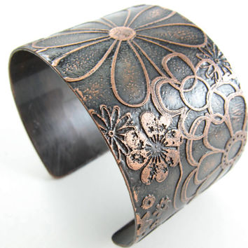 Flower Cuff Copper Etched Adjustable Cuff Womens Copper Cuff Handmade Copper Jewelry Wide Flower Cuff