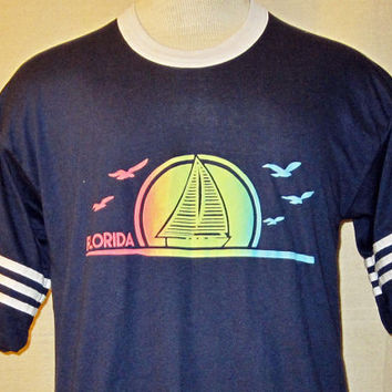 Vintage 70s Florida BEACH GRAPHIC Surf Sailing  Medium Jersey Style 50/50 Raglan T-Shirt