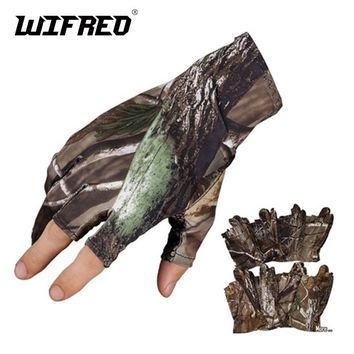 Wifreo Camouflage Fishing Gloves 3 fingers Cut light Anti Slip Camping Riding Gloves Carp Fishing for Spring Summer Autumn