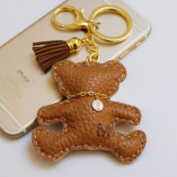 Brand Keychain Pu Leather Keychain Animal Teddy Bear Key Chains Car Keyring Luxury Key Holder llaveros portachiavi PWK0528
