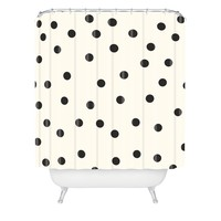 Garima Dhawan Vintage Dots Black Shower Curtain