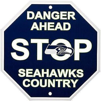 "Seattle Seahawks NL 12"" Plastic Wall STOP Sign Country Football"