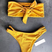 Summer New Fashion Solid Color Strapless Two Piece Bikini Swimsuit Yellow