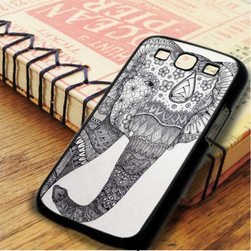 White Black Elephant Aztec Art Samsung Galaxy S3 Case