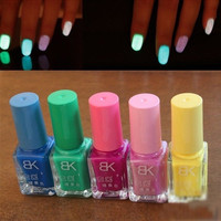 5pcs/set Candy Colors Nail Lacquers Fluorescent Luminous Neon Glow In Dark Varnish Nail Art Polish Enamel = 1958796548