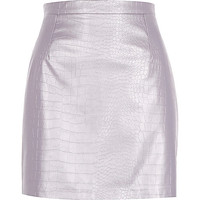 River Island Womens Purple metallic leather-look skirt
