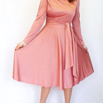 Vintage 70s / 80s does 40s Pink Mauve Hal Ferman Shirt Shift Day 50s Tea Dress Sundress Long Sleeves Medium Swing Dress Romantic A line