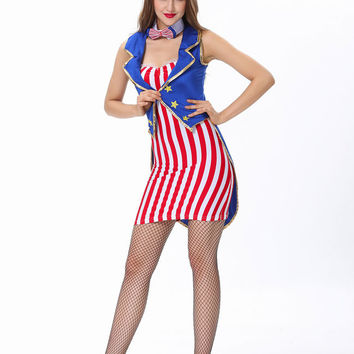 Red and Blue Striped Circus Ringmaster Costume