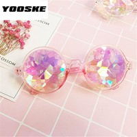 YOOSKE Round Kaleidoscope Glasses Rave Festival Men Women Brand Designer Holographic Kaleidoscope Sunglasses Retro