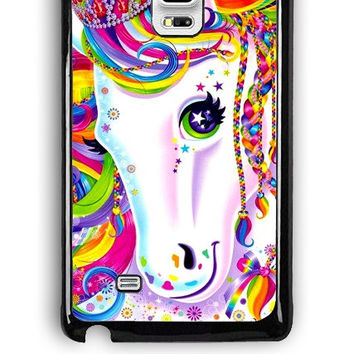 Samsung Galaxy Note Edge Case - Hard (PC) Cover with Lisa Frank Majesty The Rainbow Horse Plastic Case Design