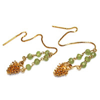 Holiday Jewelry Pine Cone Earrings Peridot Earrings Nature Jewelry Woodland Jewelry Ear Thread Peridot Jewelry