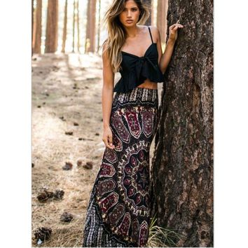Women's Maxi Summer Long Casual Retro Boho Tribal Floral Gypsy Beach Skirt tutu women skirt #0321