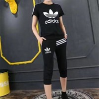 """""""Adidas"""" Fashion Casual Clover Letter Print Stripe Short Sleeve Set Two-Piece Sportswe"""