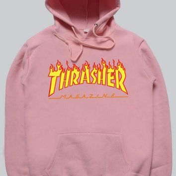 Women sportswear Thrasher hoodie flame skateboard dead fly west 61d3514cf3