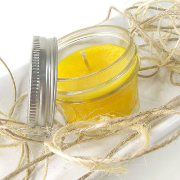 Scented Candle - Sunflower scented Palm Wax Candle -- 4 ounce Mason Jar