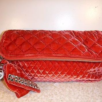 Juicy Couture Red velour Quilted Clutch purse with gem studded bow Unused Sample