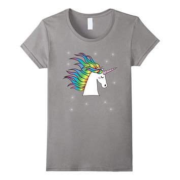 Unicorn Rainbow Stars TShirt Cute Kawaii Patches Teens Girls