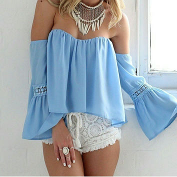 Off-shoulder Long Sleeves Sexy Falbala Casual Blouse