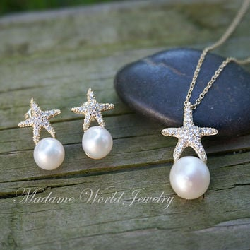 Freshwater Pearl Clear Cubic Zirconia Starfish Necklace & Earrings Set