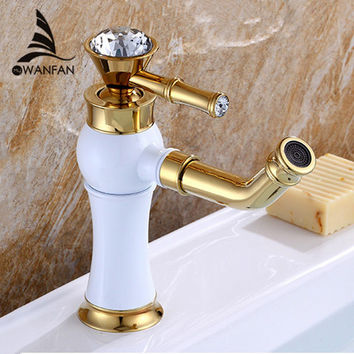 Bathroom Faucets Crystal Handles Faucet For Bathroom Basin Sink Golden +White Single Handle Water Tap Al-325W