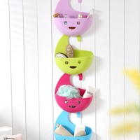 Smile Face Creative Household Multifunctional Hanging Storage Basket Kitchen Bath Organizer