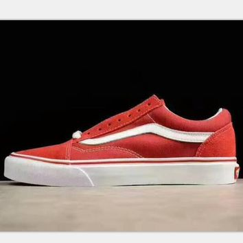 VANS VN-0VOKDLC Casual Sports Sneakers Shoes red white line H-PSXY