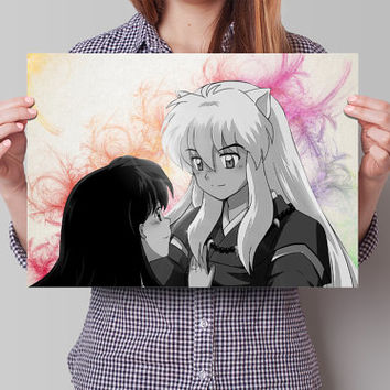 Inuyasha Anime Manga Watercolor Poster Print Art Wall Decor Gift  no426