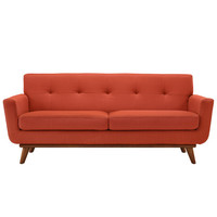 Fine Fabric Upholstered Loveseat with Rubberwood Legs