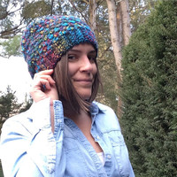 Slouchy Hat Beanie Crochet Blue Multi Womens Ladies Girls Winter Hat
