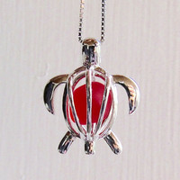 Sea Glass Turtle Cherry Red Ruby Locket  Sterling Silver Honu
