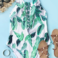 Cupshe Transparent Green Leaf One-piece Swimsuit