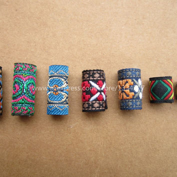 Free shipping 7Pcs/Lot mix fabric hair braid dread dreadlock beads clips cuff approx 8-12mm hole NO.01