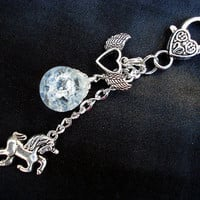 Unicorn Wing Heart Crystal Crackle Glass Marble Keychain