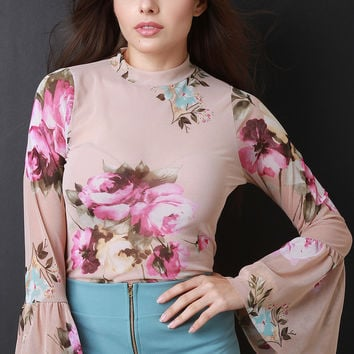 Floral Mesh Long Bell Sleeve Top | UrbanOG