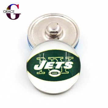 Replaceable Ginger Glass Snap Buttons New York Jets Football Team Sports Charms 18mm Fit Snap Bracelets&Bangles Diy Jewelry