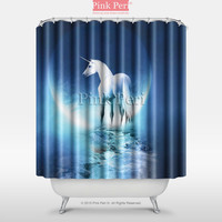 Unicorn Under the moon lighting Shower Curtain Home & Living Bathroom 002