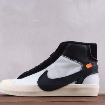 hcxx Nike x OFF WHITE Blazer Mid The 10 Causal Skate Shoes White Black