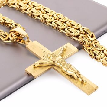 Crucifix Jesus Pendant Necklace Gold Color Stainless Steel Christs Bible Cross Men Jewelry Byzantine Chain Gift for Father NZ016