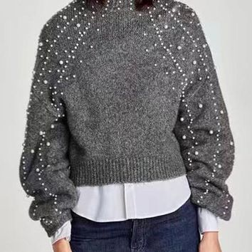 Grey Patchwork Pearl Long Sleeve Pullover Cute Sweater