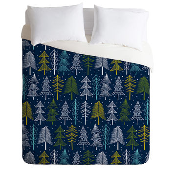 Heather Dutton Oh Christmas Tree Midnight Duvet Cover