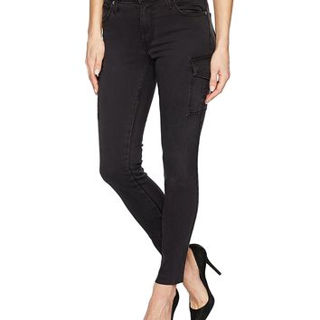 James Jeans Women's J Twiggy Ankle Cargo Skinny Jean with Raw Hem in Blacked Out