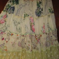 Johnny Was Clothing Tiered Yellow Floral Xs Skirt
