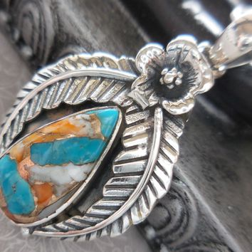 Turquoise .925 Sterling Silver Flower & Leaf Pendant/Necklace
