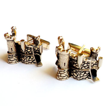 Castle Cuff Links Vintage Gold Tone Swank Cufflinks Figural Architecture Fantasy Fairy Tale Wedding Signed Gift For Husband Dad Fiance