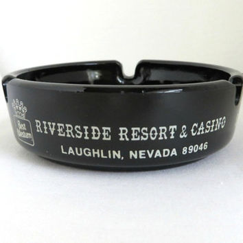 Vintage Casino Ashtray, Riverside Resort & Casino Souvenir, Laughlin, Nevada Glass Ashtray