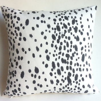 One Linen Modern Charcoal Dots Zippered Pillow Cover 18x18 20x20 24x24 26x26 Les Touches White Dalmatian Cushion cover-K72R