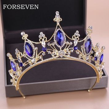 Blue Crystal Tiaras Wedding Headwear Gold Crown For Bride Head Accessories Queen Princess Pageant Crown Crystal Tiara Headband